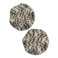 Fancy Gold, Black & White Clip Earrings