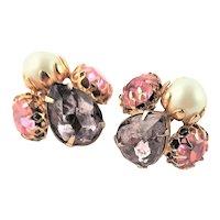 Vintage Purple & Pink Large Rhinestone Earrings