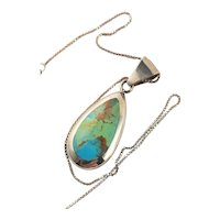 Beautiful Turquoise & Sterling Pendant Chain Necklace