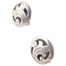 Handmade Marked Sterling Button Earrings