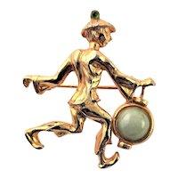 Darling Gold Plated Oleg Cassini Figural Brooch