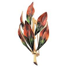 Lovely Colors Enamel Leaf Brooch