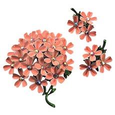 Outstanding Pink Enamel Flower & Earrings Set