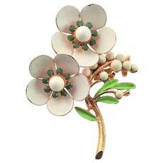 Beautiful Enamel Bouquet of Flowers Brooch