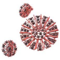 Amazing Enamel Red Brooch W/ Red Rhinestones