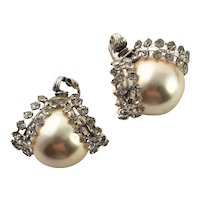 Signed Carnegie Large White Simulated Pearl Earrings