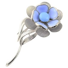 Poured Blue Glass & Silver Plate Brooch