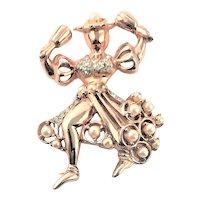 Stunning Reja Marked Gold Plated Brooch