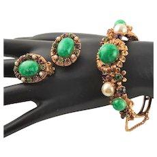 Florenza Jade Green Glass Bangle & Earrings Set