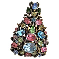 Hollycraft Multi Colored Stone Mrked Brooch