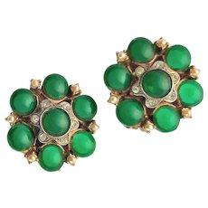 Marked Har Jade Green Colored Earrings