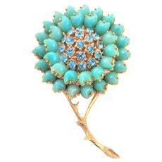 Signed Florenza Blue Floral Brooch