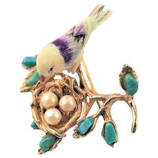 Unsigned Swoboda Bird In Nest Brooch