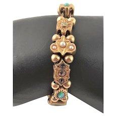 Spectacular 14K Gold Multi Stone Slide Bracelet