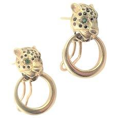 14K Gold Emerald & Enamel Earrings