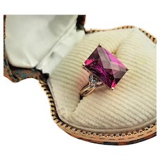 10K Yellow Gold & Synthetic Pink Sapphire Ring