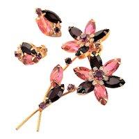 Multi Dimensional Juliana Red Brooch & Earrings