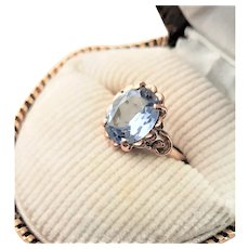 Edwardian 10K Rose Gold & Synthetic Aqua Blue Spinel Ring
