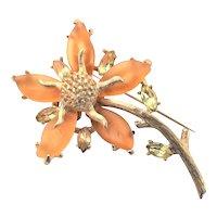 Pretty Ledo Satin Glass Flower Brooch