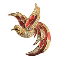 Giorgio Red Enamel & Gold Plate Bird In Flight Brooch