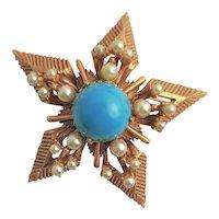Florenza Gold Plated Star Book Piece Brooch