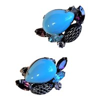 Beautiful Turquoise & Oxidized Silver Earrings