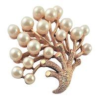 Trifari White Faux Pearl & Gold Metal Brooch