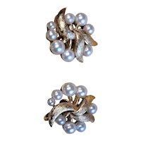 Trifari Gold Plated & White Faux Pearl Earrings