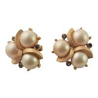 Trifari Gold Tone & Glass Pearl Earrings