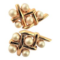Trifari Gold Cross Hatch Golden & Simulated Pearl Earrings