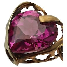 Heart Shaped Synthetic Pink Sapphire Pendant Necklace