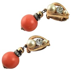 Coral Colored Lucite & Golden Clip Earrings