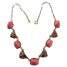 Art Deco Pink Glass & Chain Necklace