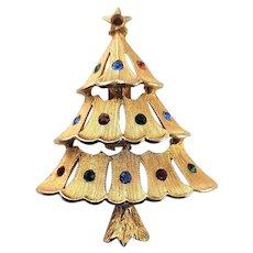 Gold Plated JJ Christmas Tree Brooch