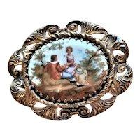 Fancy Brass Framing Porcelain Courting Brooch