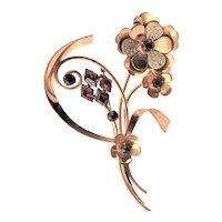 Golden Sterling & Red Glass Marked Brooch