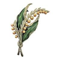 Art Deco Synthetic Pearl & Enamel Brooch