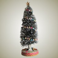 Vintage Bottle Brush Tree W/Colored Glass Garland