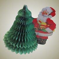 Vintage Honeycomb Santa & Tree Centerpiece