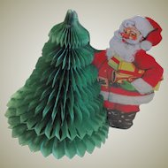 Vintage Honeycomb Santa & Tree Centerpiece