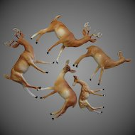 Five Vintage Hard Plastic Reindeer