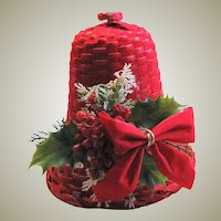 Vintage Red Flocked Wicker Bell With Decoration