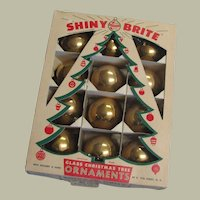 Vintage Shiny Brite Glass Christmas Ornaments In Original Box