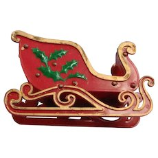 Vintage Collapsible Red Plastic Sleigh