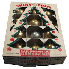 Vintage Shiny Brite Gold Glass Ornaments