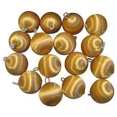 Sixteen Gold Satin Christmas Ball Ornaments