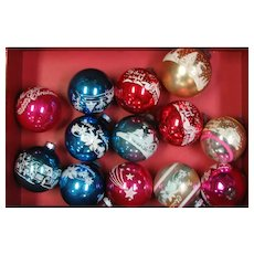 Twelve Shiny Bright Painted &Stenciled Christmas Ornaments