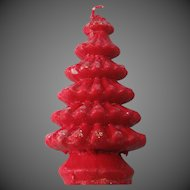 Red Wax Vintage Candle Christmas Tree