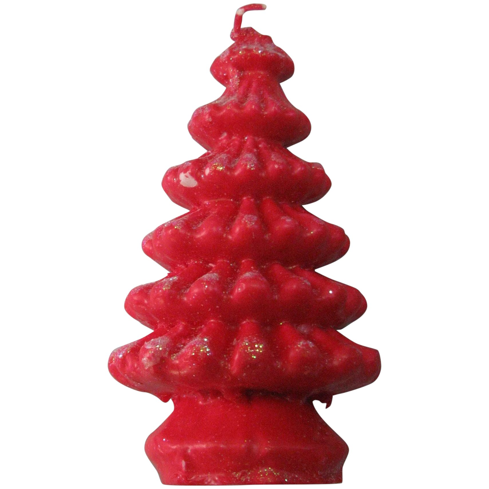 Red Wax Vintage Candle Christmas Tree Mjg Designs Ruby Lane