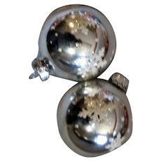 Two Silver Mercury Glass Rauch Christmas Ornaments